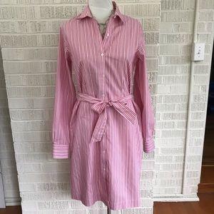 346 Brooks Brothers shirt dress pink white stripe